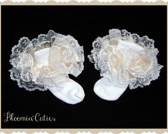 Little Miss Serena Ivory Organza & White Lace Newborn Infant Toddlers and Girls SUPER RUFFLE SOCKS by Bloomin Cuties Boutique