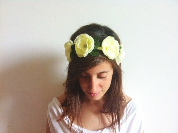Flower Crown -  Ivory Flower Halo - Hair Turban - Bridal Headpiece, Flower Girl, Woodland Wedding, Flower Headband