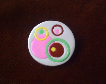 Mod Circles Chocolate Box brooch - polymer clay with silver pinback 1