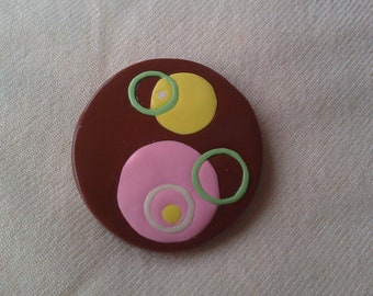 Mod Circles Chocolate Box brooch - polymer clay with silver pinback 2