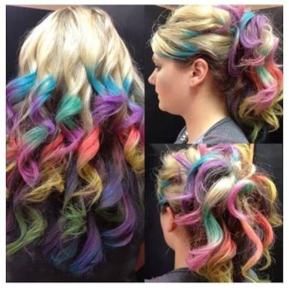 Items similar to Clip In Rainbow Hair- Ombre Hair ...