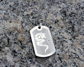 Summer Sale - Mens Stainless Steel Dog Tag  Etched with a Dragon on a Stainless Steel Chain