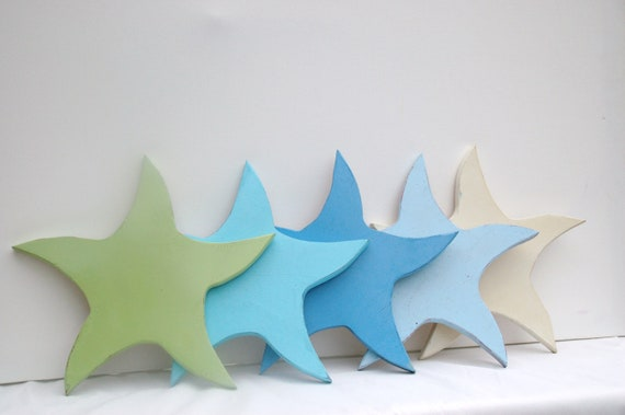 Beach house starfish Turquoise,green,blue and cream wooden starfish beach house decor coastal living
