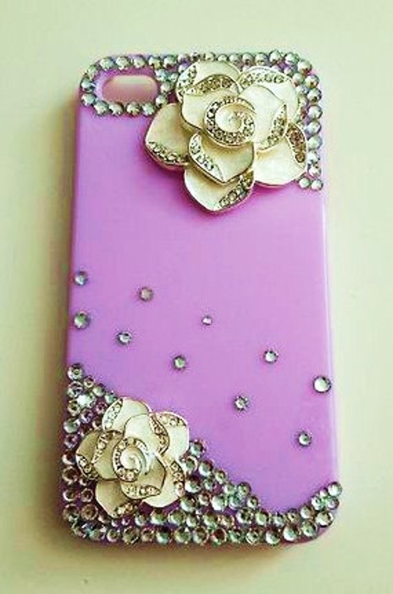 iPhone 4 and iPhone 4S White Camellia Flowers with Rhinestones Crystals Lavender bling case