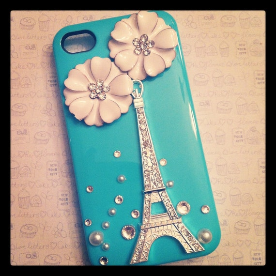 iPhone 4 and iPhone 4S Tiffany Blue Eiffel Tower White Flowers and Crystals bling case