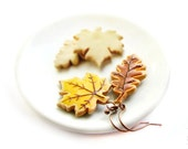 Autumn Leaves Cookies Earrings - Food Jewelry -  Fall yellow leaves