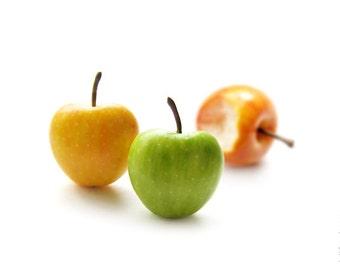 Autumn Apples Stud Earrings - Small Ear Studs - Earrings Post - Food Jewelry