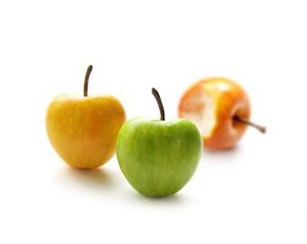 FREE SHIPPING - Autumn Apples Stud Earrings - Small Ear Studs - Earrings Post - Food Jewelry