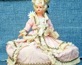 Marie Antionette Vintage Composite Doll in Pink Satin, Lace and Sequin Ballgown, 1950 Collectable, French Revolution, Scarlett O'Hara Dress