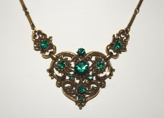 """1950s Green Rhinestone Art Nouveau-Inspired Signed """"Coro"""" Necklace"""