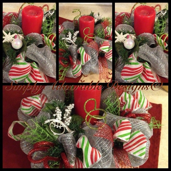 Christmas mesh table top centerpiece candle holder