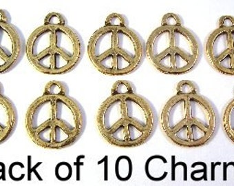 Ten Gold Toned Pewter Peace Sign Charms - Free Shipping in the US - (5196)