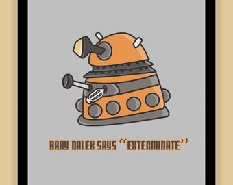 Baby Dalek Nursery Art modern print poster