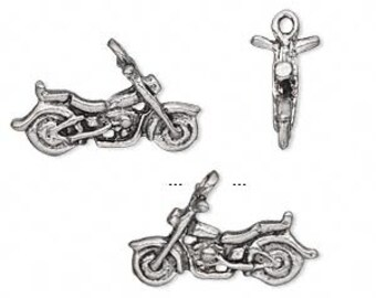 Motorcycle Antiqued Pewter Pendants - pack of 12   Double sided  38mm x 16mm Charm