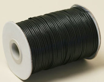 Black 1.5mm waxed cotton cord 82 feet  (25 Meters) spool