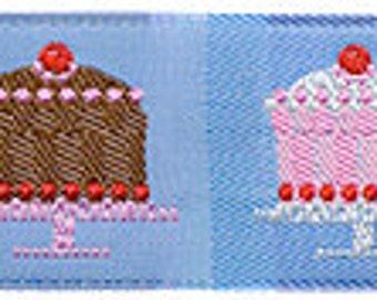 """CAKES on Blue Jacquard Ribbon - 1"""""""