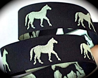 GREEN HORSES on Black Jacquard Ribbon - 1""