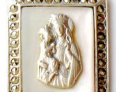 Saint Anne Medallion Pendant Sterling Silver Marcasite Mother Of Pearl Blessed Virgin Vintage 1950s Religious Jewelry Confirmation Christmas