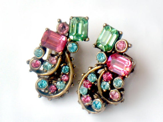 CLAUDETTE  Rhinestone Earrings Signed 1950s Rare Collectable Jewelry Antiqued Gold Scrollwork Pink Green Blue