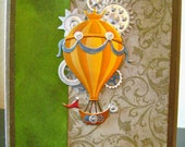 Emerald Air Balloon Steampunk Greeting Card