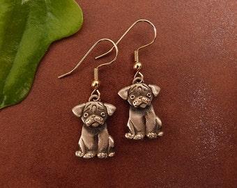 Bronze Pug Puppy Earrings