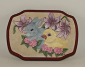 Hand Painted Wood Plaque Baby Bunny and Duckling, Nursery Wall Art, Home Decor