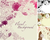 4 Floral template designs - Clipart and Digital paper for scrapbooking, wedding invitation cards, Personal and Small Commercial Use.