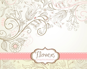 8 Flower Designs, digital paper and a floral border - Clipart for scrapbooking, wedding invitations, Personal and Small Commercial Use.