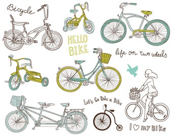 14 Bicycles clip art, digital scrapbooking, Hand Drawn, Vintage, wedding invitations, cards, blue, green, Personal and Small Commercial Use