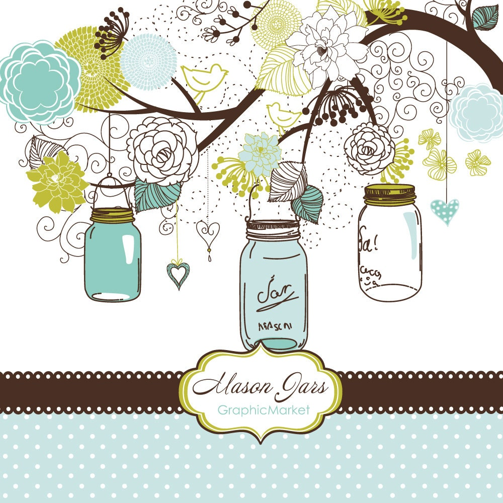 Hand Drawn Mason Jars card template and digital papers Clip