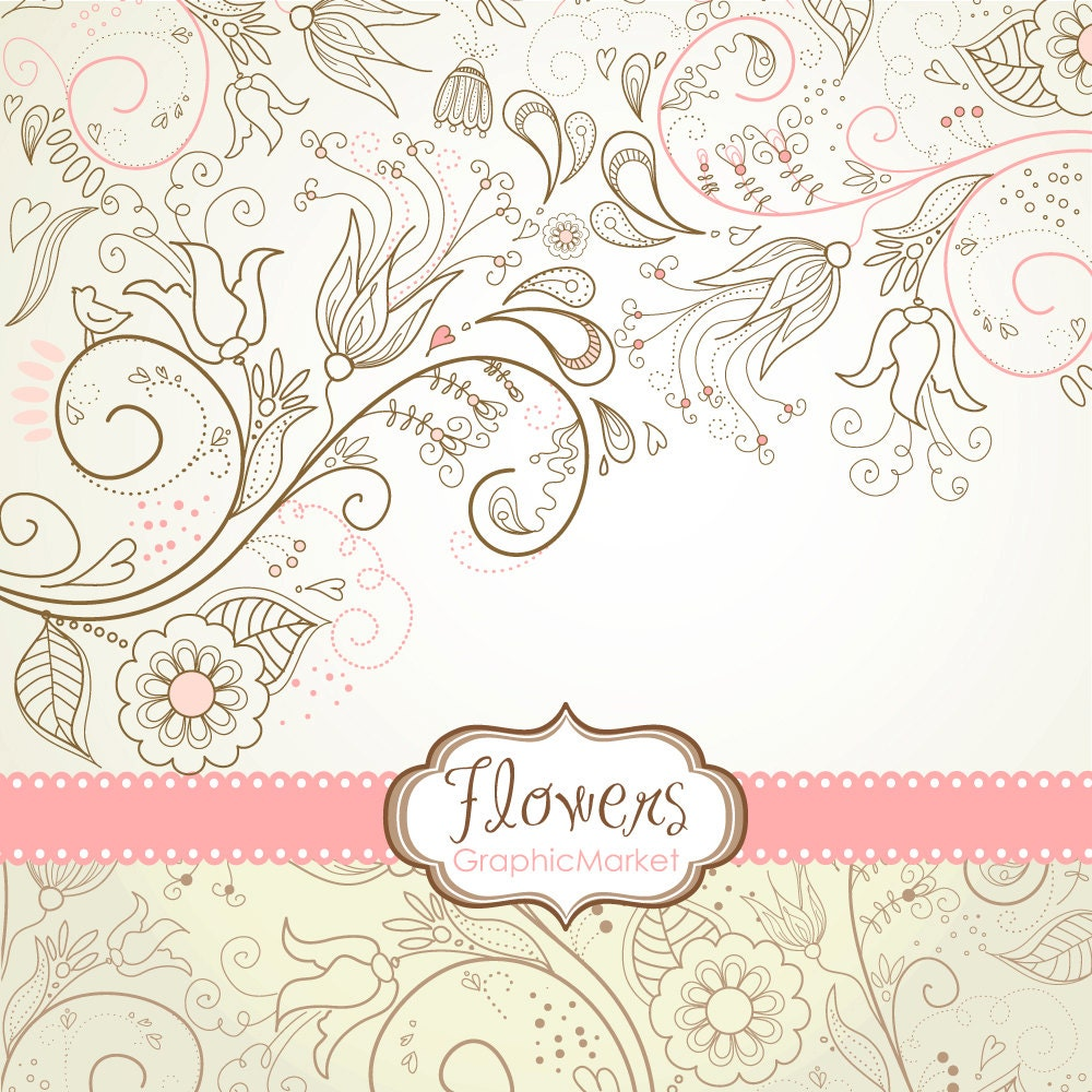 8 flower designs digital paper and a floral border clipart for scrapbooking wedding invitations personal and small commercial use