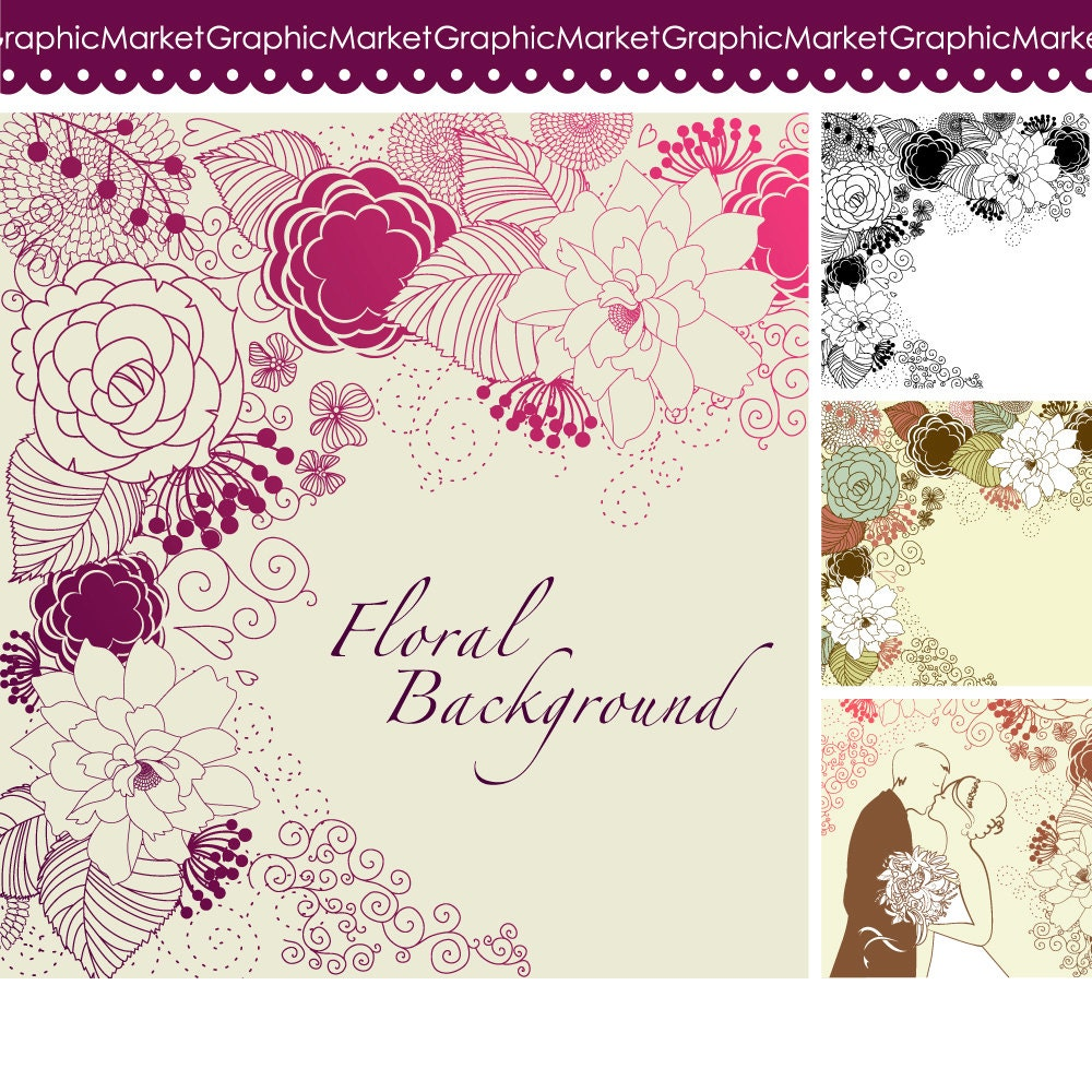 4 Floral Template Designs Clipart And Digital Paper For