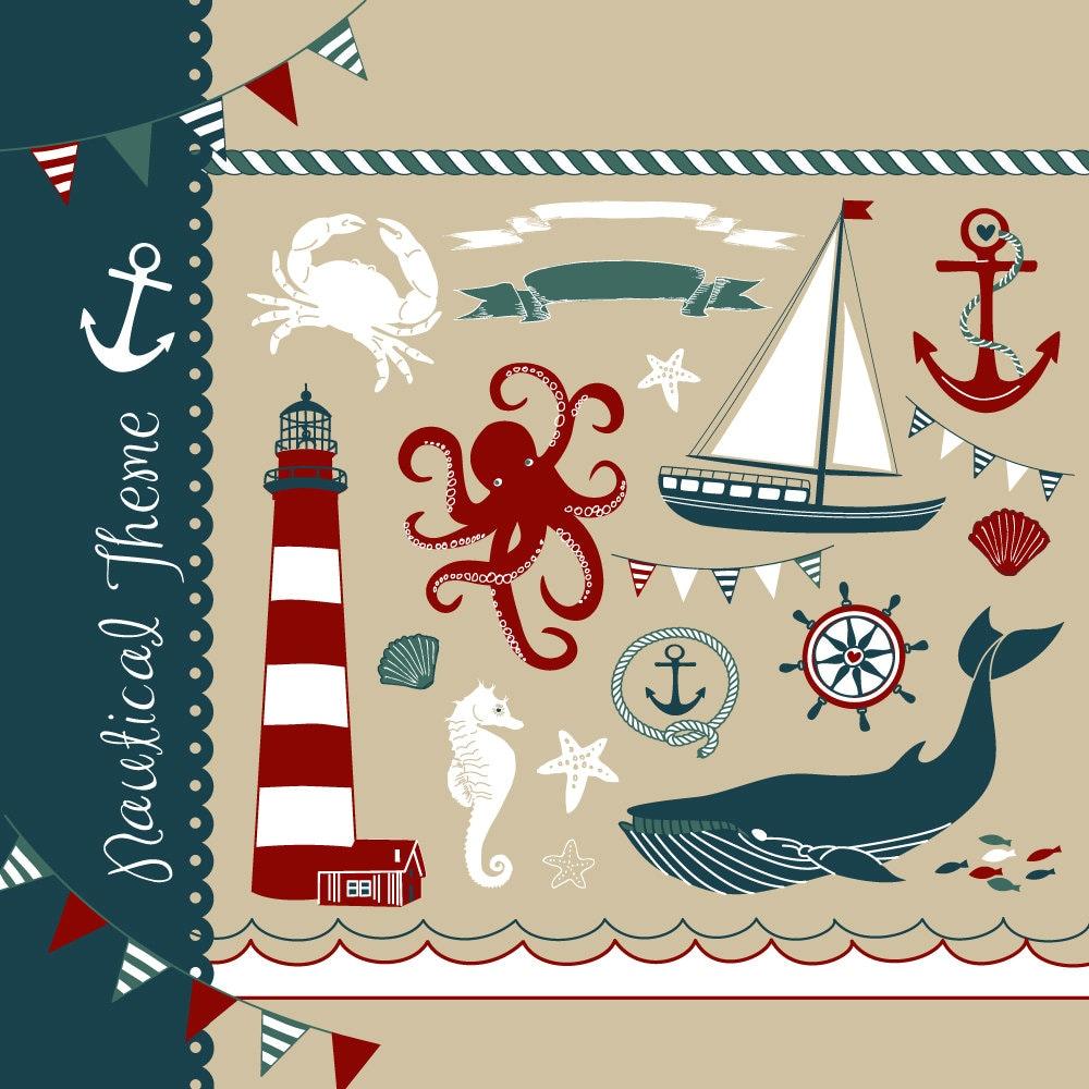 Nautical clip art collage hand drawn sea clipart sailboats