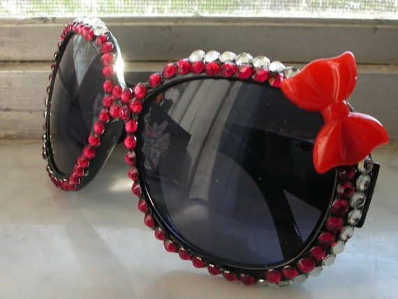 Hello Kitty Red & Silver Bling Over Sized Sunglasses