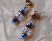 Blue and crystal rondelle earrings