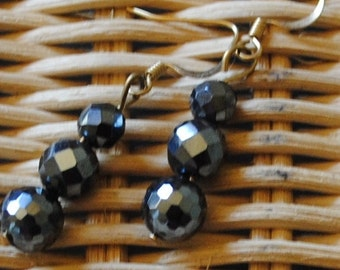 3 hematite ball earrings
