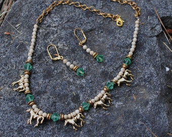 Erinite horse necklace and earrings (#1)