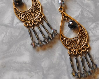 hematite filagree earrings