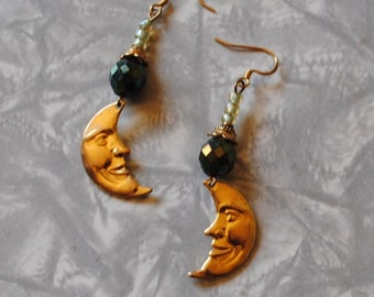 Dark green moon earrings