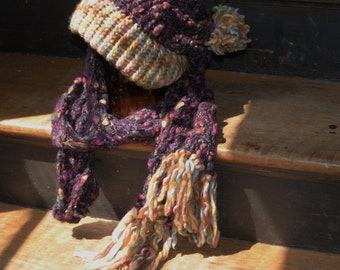 Nubby purple and biege hat and scarf