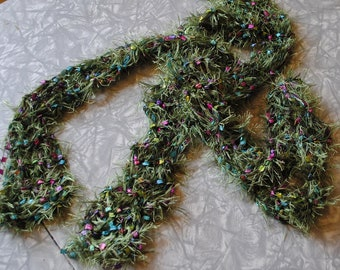 Fuzzy green and multicolored scarf