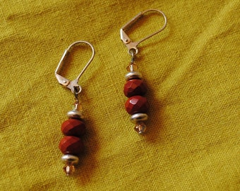 Red jasper rondelle earrings