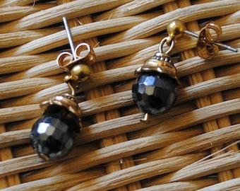 Hematite ball earrings