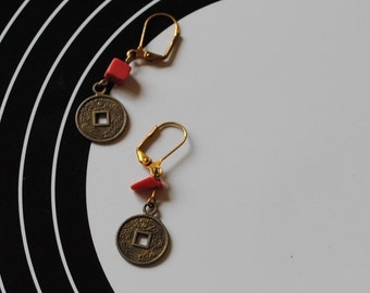 Chinese coin and jasper earrings