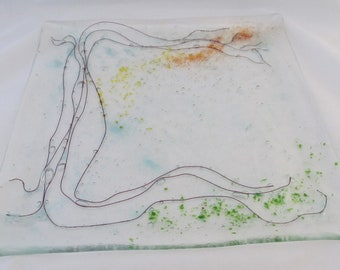 "Tree of Life Full-Fused Glass plate 12"" x 12"" (approx)"