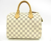 AUTH Louis Vuitton Damier Azur Canvas Speedy 25 Handbag