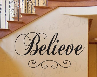 Believe Inspirational Motivational God Religious Large Wall Quote Decal Decoration Lettering Sticker Vinyl Decor Art Mural Letters I75
