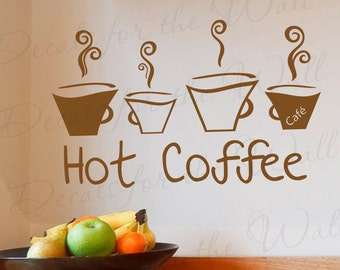 Hot Coffee Kitchen Dining Room Home Large Wall Decal Decor Saying Lettering Decorative Vinyl Quote Sticker Graphic Art Decoration KI43
