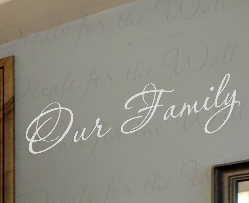 Our family love home adhesive vinyl wall decal lettering for Adhesive wall art letters