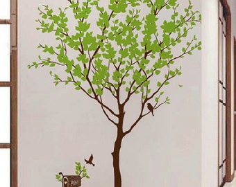 Tree wall decal wall stickers nursery wall decals-Tree with birds wall decal